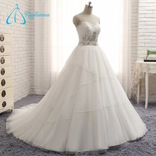Lace Appliques Cascading Ruffles Zipper Custom Wedding Dress