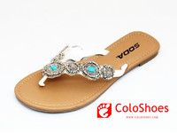 women wholesale rhinestone leather flip flops