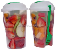 Salad to go plastic fruit salad cup with dressing container fork