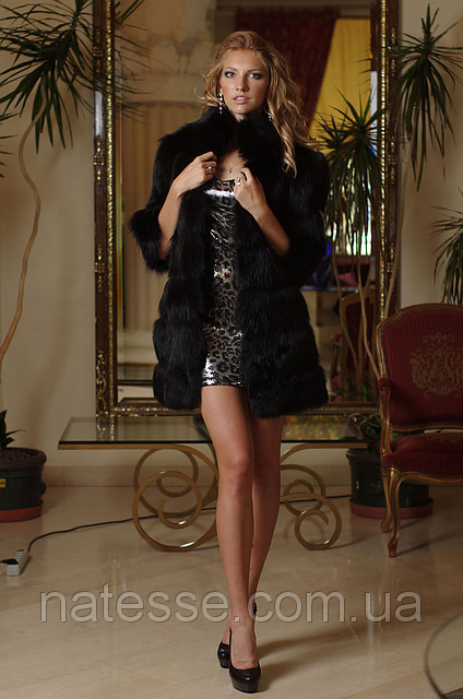 Natural real fox fur coat&vest 2in1 convertible fox fur coat vest in black Detachable zip-on sleeves. Length=85 cm