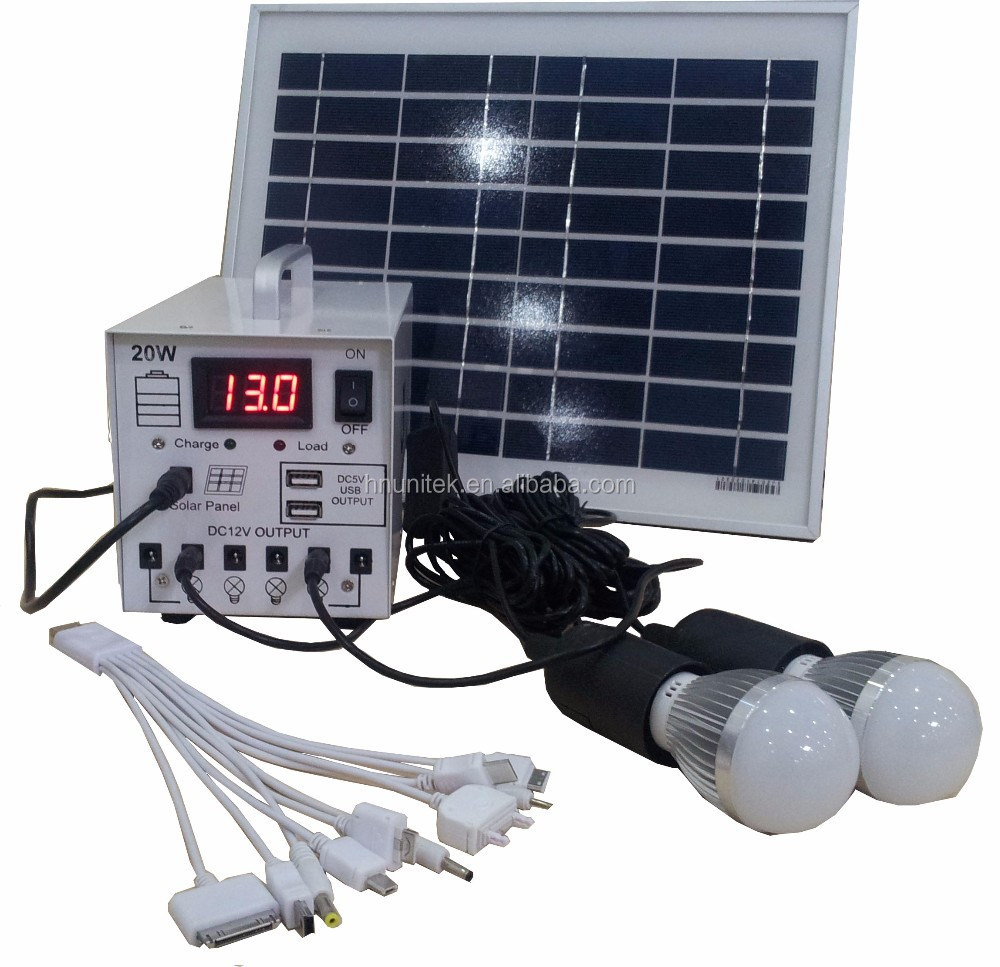 Portable 20W mini solar system 20W solar lighting system solar kit with mobile charger MP3 FM
