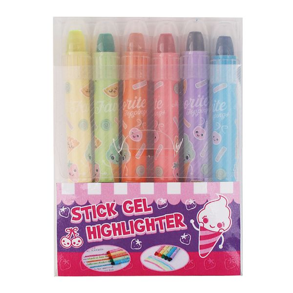 Licheng HMP05A Gel Fluorescent Highlighters, 6-PK Wax Highlighter Pen
