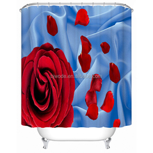 Super charming Valentine's day 3d red rose design beautiful shower curtain