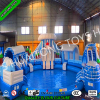 2016 hot sale commercial inflatable water park on land with pool slide for kids and adults