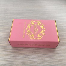 custom printed high quality nice pink box with logo gold foil contact lenses packaging