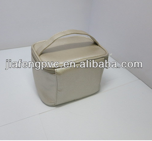 Patterned PU Handle Toiletry Bag with Front Clear TPU Window