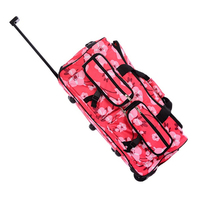 Sublimation flower multi pocket trolley weekend weekender travel bag, week end prom club over night roller wheeled travel bag