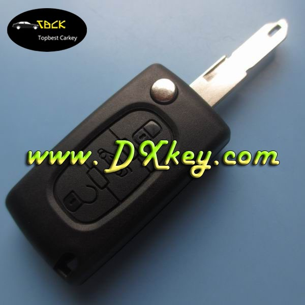 Topbest Citroen flip key case with 3buttons(trunk button) and battery holder 206 blade CE0536 car key blanks