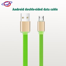good price green usb cable double side micro charging data transfer cable