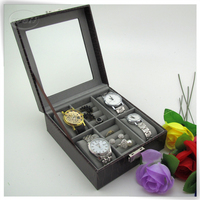 luxurious pu leather small display cabinets watch for sale