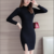 2016 autumn women sweater , black long sleeve crew neck mercerized sweater dress for women