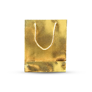 Golden glittering paper bag for gift and luxury goods