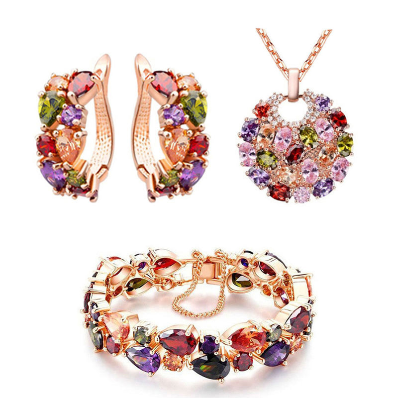 European wholesale crystal necklace and earring bride jewelry set