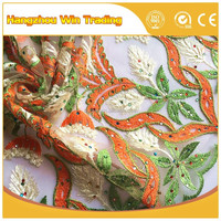 Hot Design African Tulle Lace French Net Lace Fabric with rhinestones form Hangzhou