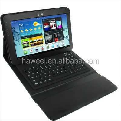 Bluetooth 3.0 Silicone Keyboard Leather Case for Samsung Galaxy Tab 10.1 P7510 / N8000 / P5100 (Black)