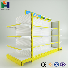 good price supermarket malaysia rolling gondola metal shelving racks with bracket top light for sale