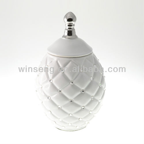 White Porcelain Modern Container with Lid for home decoration