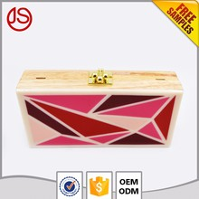 Wholesale High Quality Funky Elegant Clear Acrylic& Wooden Clutch Bag Women for Girls