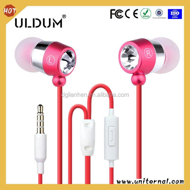 ULDUM brand free sample diamond fashion bluetooth with mic in ear earphones headphones factory dongguan electronic supplier