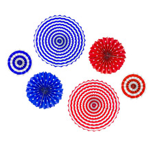 UMISS PAPER Party Home Decoration Patriotic Round Folding Red White Blue American Flag Design Hanging Paper Fans