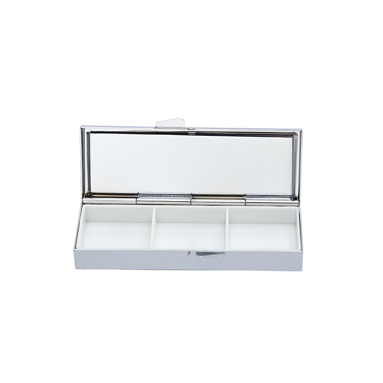 Online shop child proof three compartment pill box with mirror,pocket blank aluminum metal japanese pill box mirror