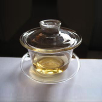 hand made mouth blown glass tea cup and saucer