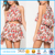 New arrival two piece outfits floral halter tank fluttery skirt-look short