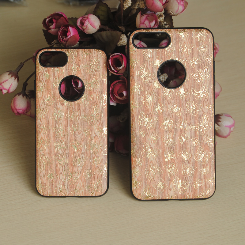 Newest Wood grain with pattern Leather +TPU Cover mobile phone Case for Apple iPhone 7 / 7plus used with ring buckle