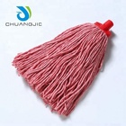 Cleaning wet mop head with cotton or polyester mop replacement head