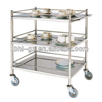 hotel restaurant stainless steel 3-tier drinks serving trolley liquor trolley foods serving cart F42