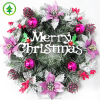 Wholesale Christmas Wreath&garland, Artificial customized decorative christmas wreath&garland with crafts&bow