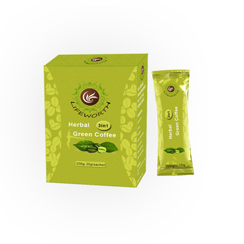 Lifeworth herbal instant 3 in 1 malaysia flavored slim green coffee