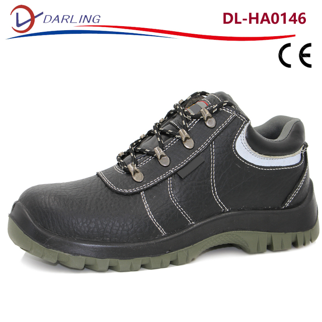 Embossed PU artificial leather brand cheap industrial safety shoes steel toe cap safety shoes