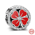 Zircon Pave Red Enamel Lucky Four-leaf Clover 925 Sterling Silver Charm Beads For European Bracelet Necklace 6pcs/lot DSP011