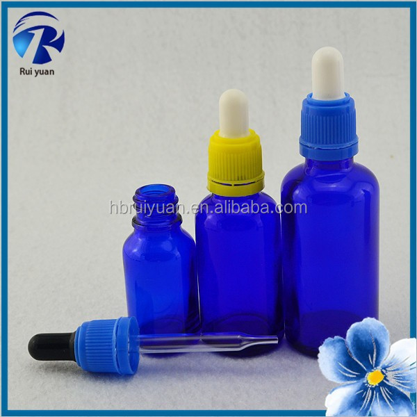 30ml glass dropper bottles with childproof dropper cobalt blue glass jars