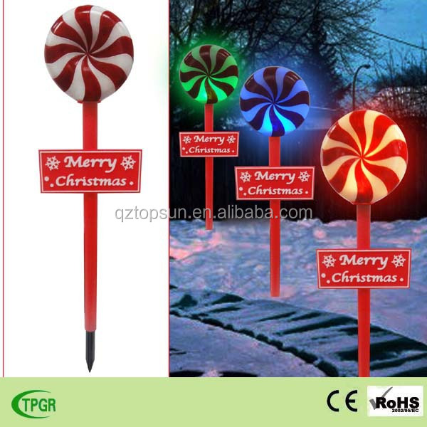 Outdoor Christmas decoration artificial christmas candy with solar stake