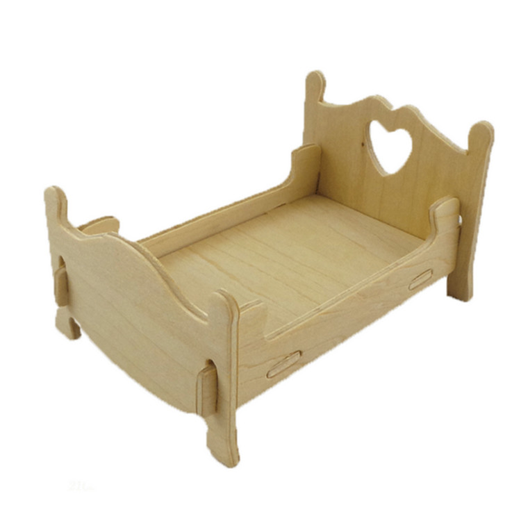 free shipping Wooden DIY 3D model baby bed home decor