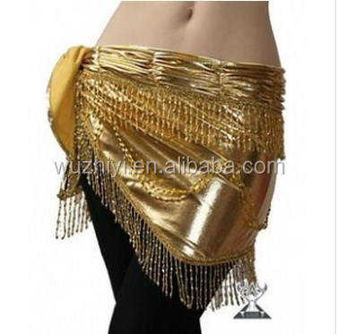 Wuchieal Golden and Silver Beaded and Tassel Belly Dance Hip Scarf QC0441