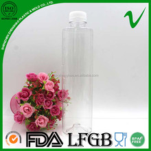 500ml PET hot sale clear cylinder empty plastic 350ml voss bottle for juice packaging
