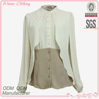 hot sale long sleeve office clothes women with contrast color