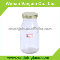 Cylinder Small Glass Milk Bottles With Metal Lid 200ml