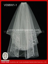 Two tiers soft tulle embroidery elbow length wedding veil