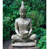 Hand carved stone buddha of outdoor decor thai female buddha sitting sculpture