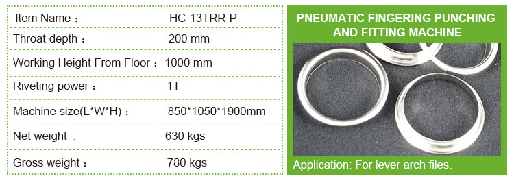 HC-13TRR-P Lever arch file finger ring eyeleting machine