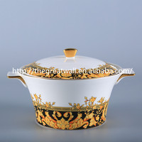 luxury royal high-end fine bone china gold cooking soup tureen with lid and handles
