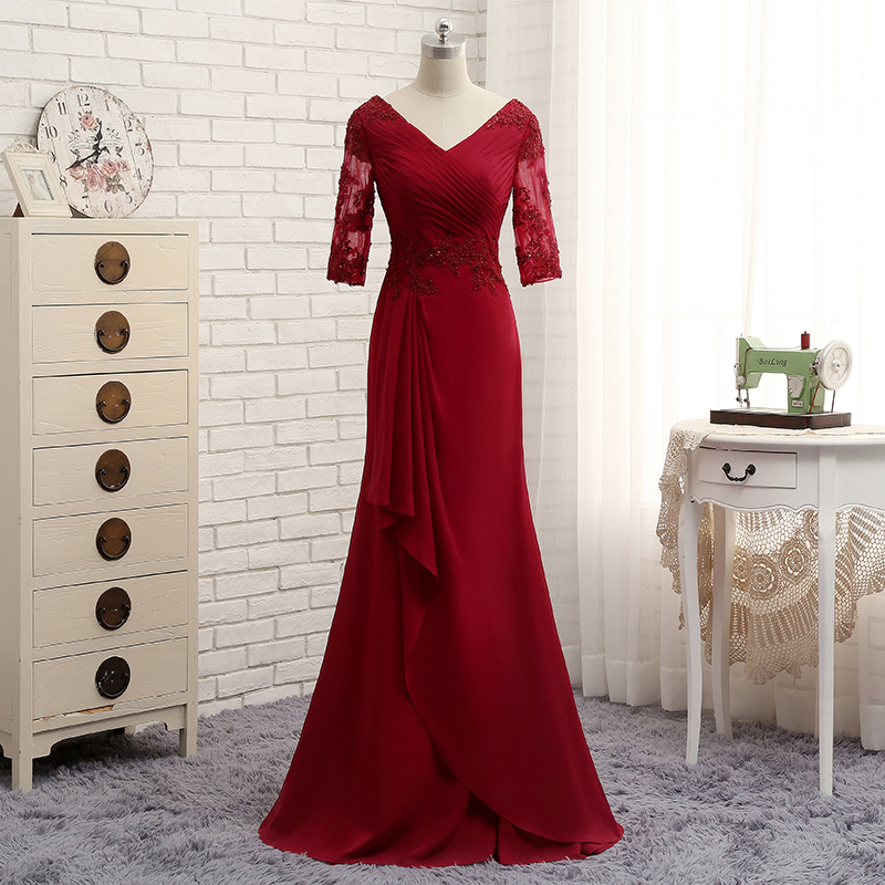 Chiffon Appliques Pleat V-Neck Long Sexy Evening Dress 2017
