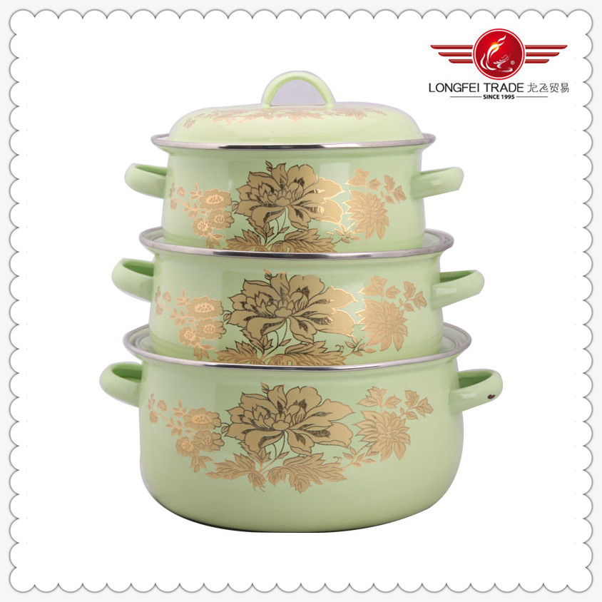2014 new design belly shape enamel cookware set with enamel handle and knob