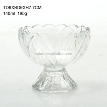 decorative clear glass ice cream/salad bowls for home use