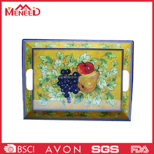Fruit print oblong shape classic design melamine tray with handles /vintage serving tray