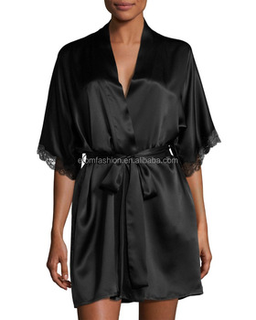 Wholesale & custom short kimono robe, wrap front silk satin robe, lace trim short robe